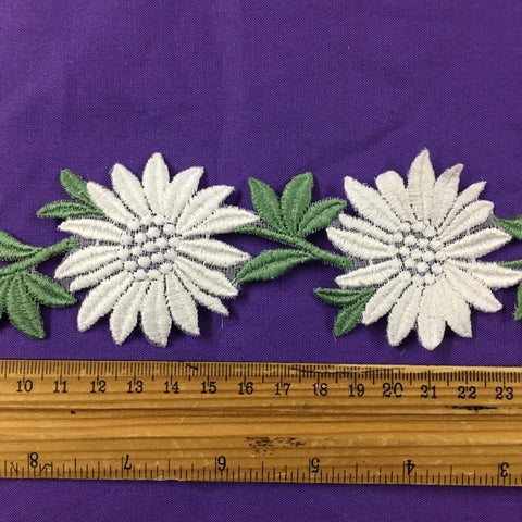 6m LEFT: Vintage 1960s Swiss cotton trim with flowers and leaves 5.5cm high