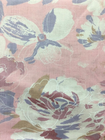 ONE LEFT Pure 80s pink pastels painterly floral cotton pillow case 72cm x 44cm