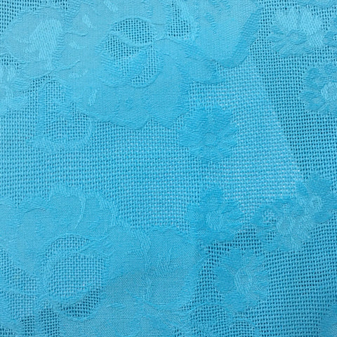 Beautiful sky blue fancy weave floral cotton damask FQ+
