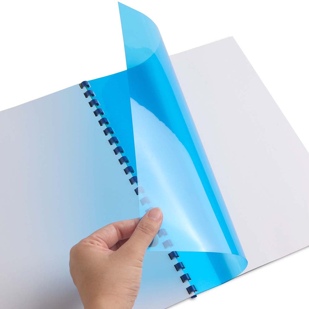 Transparent Binding Top Covers A4 100s - Clear & blue