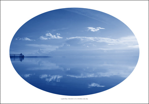 Layde Bay, Clevedon, on a windless July day. Blue version. Giclee print