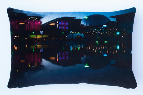 Exploratory at dusk, digitally printed Velvet cushion
