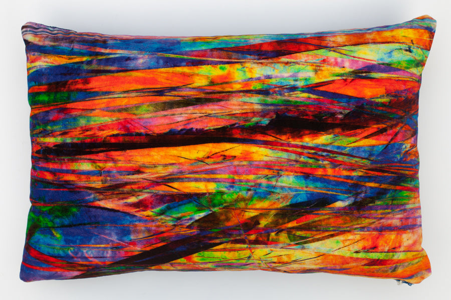 Fractured Light, rectangular digitally printed Velvet cushion