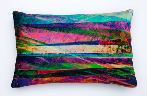 Fractured Light - Magenta Ice, digitally printed Velvet cushion