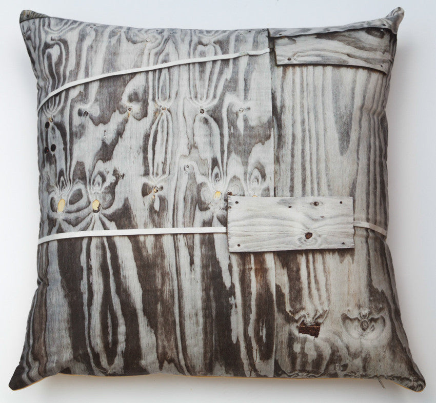 Weathered ply, digitally printed cushion