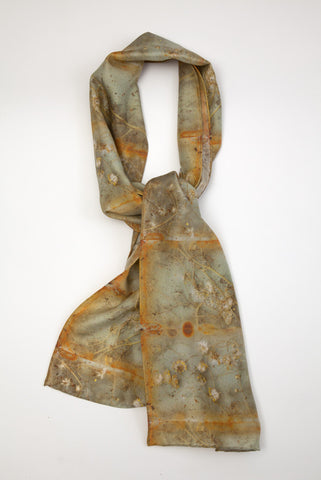 Celadon and Rust : Silk scarf