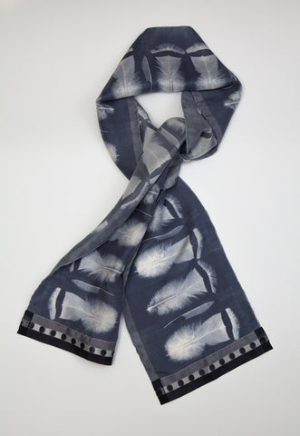 Paynes grey feathers : Silk scarf