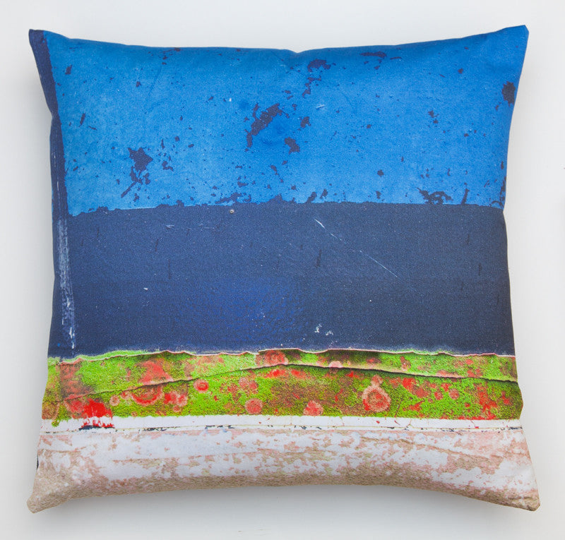 Blue Boat Skyline -2. Digitally printed cushion