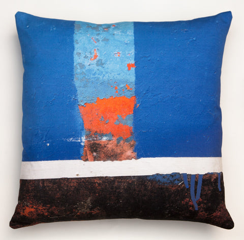 Blue Boat Skyline -1. Digitally printed cushion
