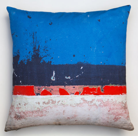 Blue Boat Skyline -3. Digitally printed cushion