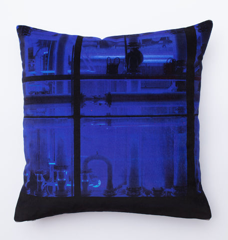 Blue pipe, digitally printed Velvet cushion
