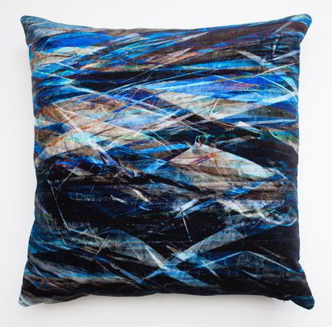 Fractured Light - Storm, digitally printed  Velvet cushion