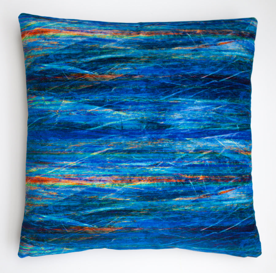 Fractured Light - Blue Ray, digitally printed  Velvet cushion