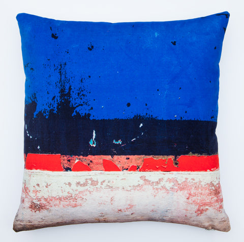 Blue boat Skyline 3, digitally printed Velvet cushion