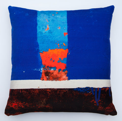 Blue boat Skyline 1, digitally printed Velvet cushion