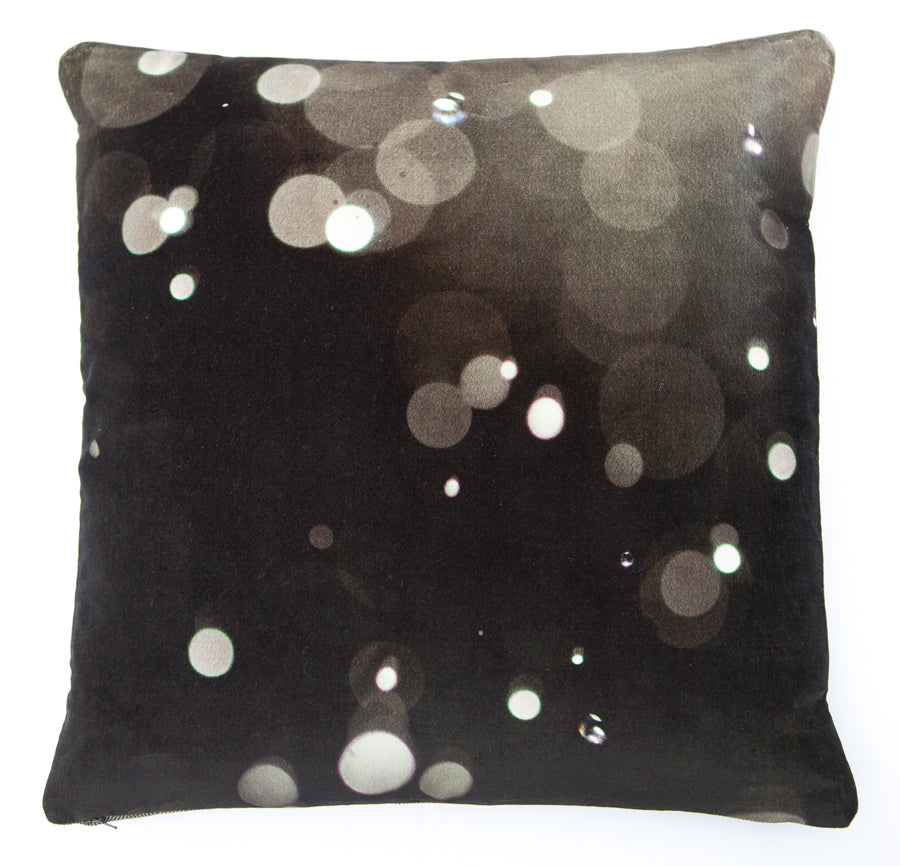 Droplets 2, digitally printed Velvet cushion