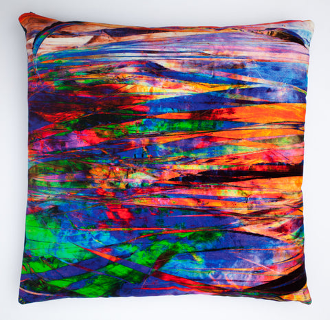 Fractured Light, digitally printed  Velvet cushion