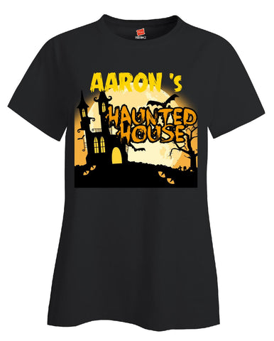 AARON s Haunted House Halloween Funny College Humor - Ladies T Shirt