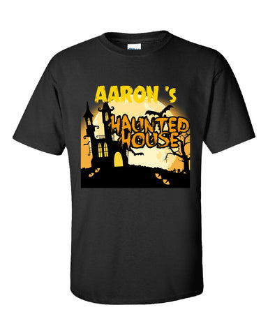 AARON s Haunted House Halloween Funny College Humor - Unisex Tshirt