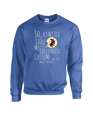 A Witch Stole My Halloween Costume Wheres The Booze Funny - Sweatshirt