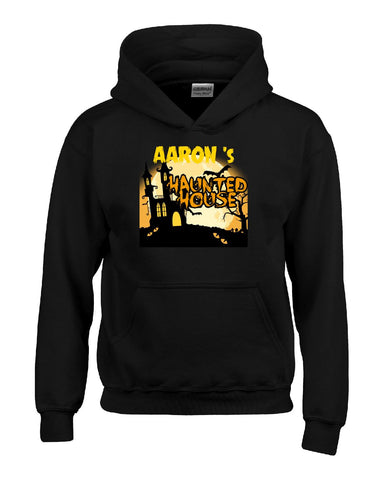 AARON s Haunted House Halloween Funny College Humor - Kids Hoodie