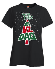 Feliz Navidad Tree Christmas - Ladies T Shirt