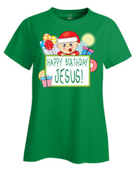 Happy Birthday Jesus Merry Christmas - Ladies T Shirt