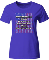 100 Million Gun Owners Killed No One Yesterday 2nd Amendment - Ladies T-Shirt