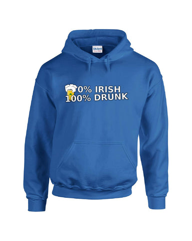0% Irish 100% Drunk Funny St Patrick's Day Beer Clover Gift - Hoodie