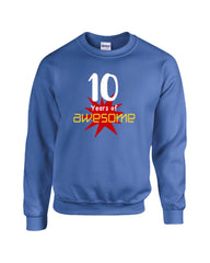 10 Years of Awesome Birthday Age Gift - Sweatshirt