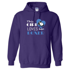 THIS GIRL LOVES HER BOXER SHIRT - Adult Hoodie - Adult Hoodie