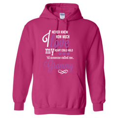 I NEVER KNEW HOW MUCH LOVE MY HEART COULD HOLD TIL SOMEONE CALLED ME GRAMMY PURPLE PRINT - Adult Hoodie