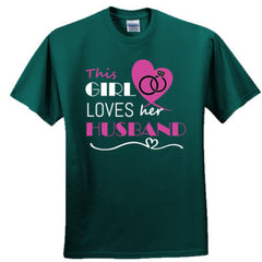 This girl loves her husband - pink - Adult Tshirt