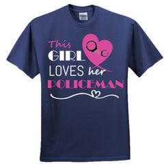 This girl loves her policeman - pink  - Ultra Cotton™ 100% Cotton T Shirt