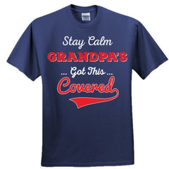 STAY CALM GRANDPA'S GOT THIS COVERED SHIRT RED PRINT - Adult Tshirt
