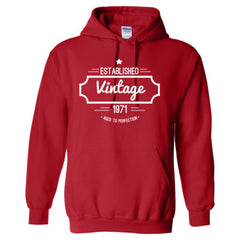 1971 VINTAGE AGED TO PERFECTION TSHIRT - Adult Hoodie