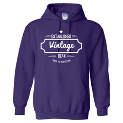 1974 VINTAGE AGED TO PERFECTION HOODIE- Adult Hoodie