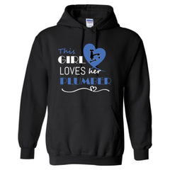 This girl loves her plumber - blue - Adult Hoodie - Adult Hoodie