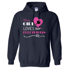This girl loves her electrician - pink - Adult Hoodie