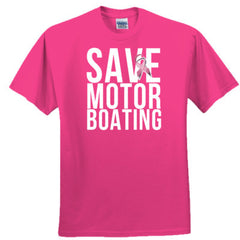 Mens Breast Cancer Awareness Save Motorboating T-Shirt