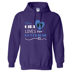This girl loves her boyfriend - blue  - Adult Hoodie