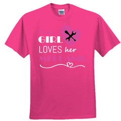 This girl loves her mechanic - pink - Adult Tshirt