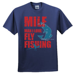 MAN I LOVE FLY FISHING TSHIRT RED PRINT - Adult Tshirt