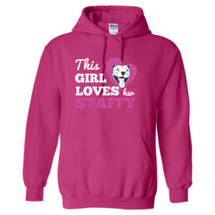 THIS GIRL LOVES HER STAFFY T SHIRT - Adult Hoodie - Adult Hoodie