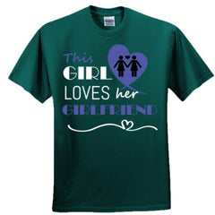 This girl loves her girlfriend - blue - Adult Tshirt