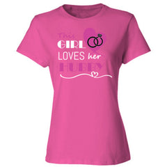 This girl loves her hubby - pink - Ladies' Cotton T-Shirt