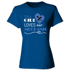 This girl loves her mechanic - blue - Ladies' 4.5 oz., 100% Ringspun Cotton nano-T® T-Shirt
