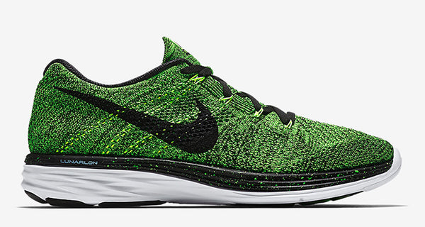 more photos 75645 dfb28 The widely revered Nike Flyknit Lunar 3 embarks on a budding new scheme  today featuring a vibrant Electric Green hue. Dressed predominately in the  lush ...