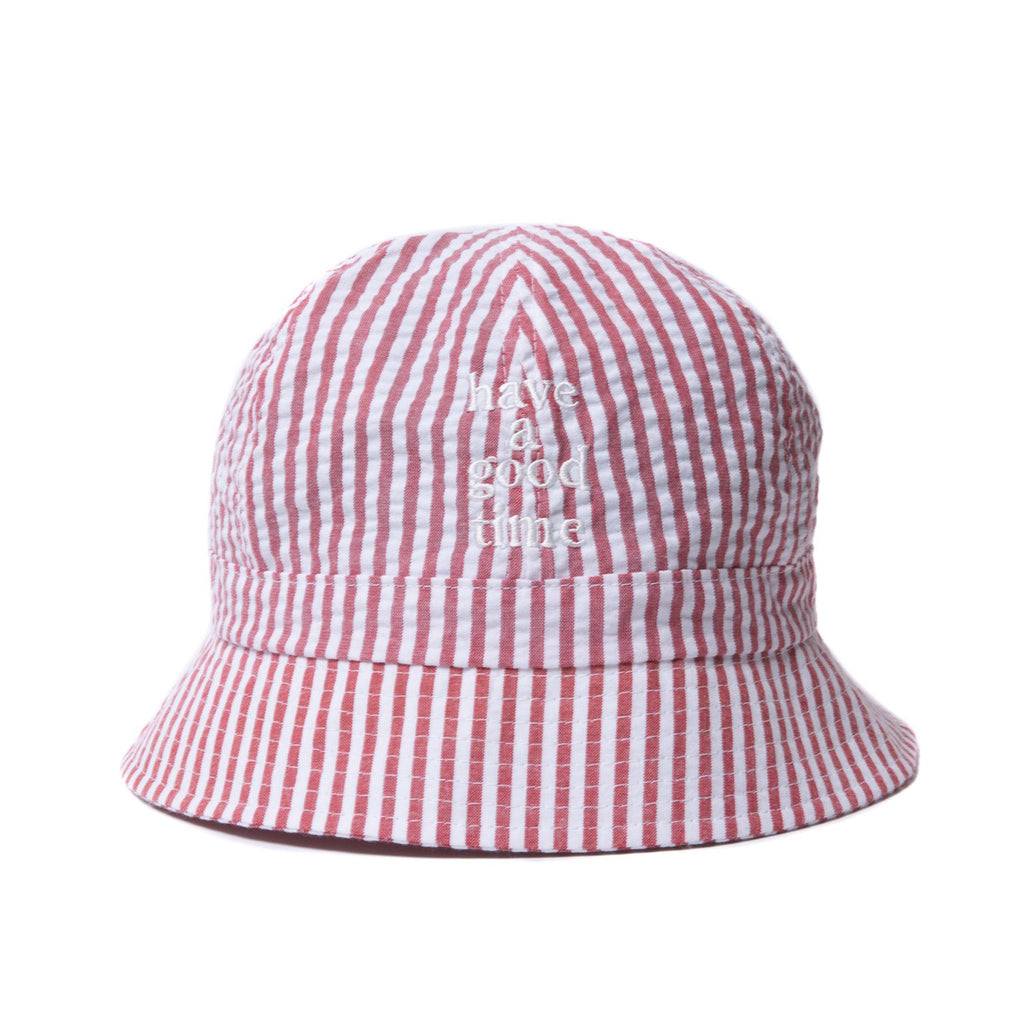 Striped Seersucker Logo Bucket Hat