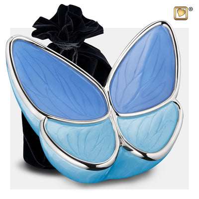 A1041  Wings of Hope™ Adult Urn Peal Blue & Pol Silver